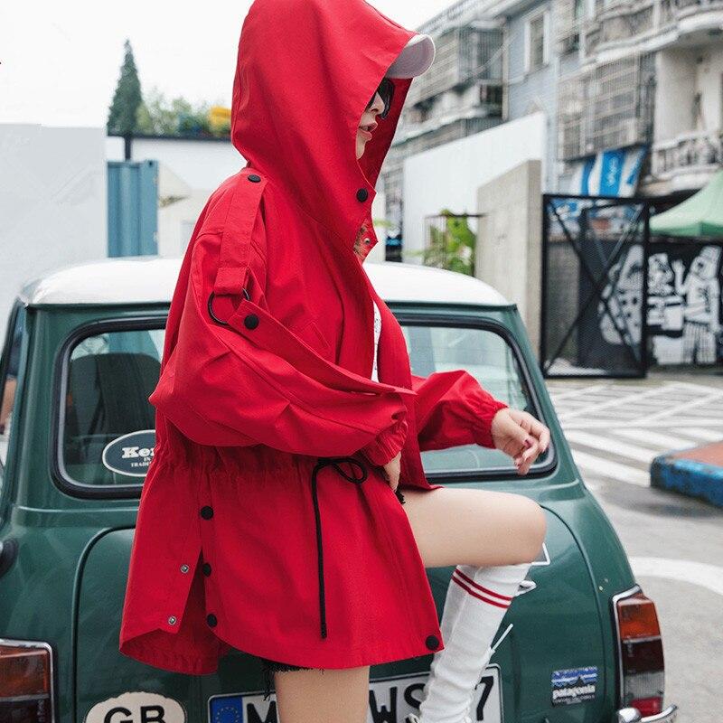 Mode Korte Windjack Vrouwelijke 2019 Lente Herfst Nieuwe Koreaanse Losse BF korte manchic Tooling Hooded Trenchcoat Voor Vrouwen X308-in Loopgraaf van Dames Kleding op  Groep 3