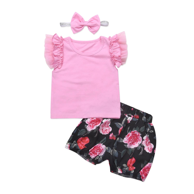 Floral Newborn Kids Baby Girls Pink Ruffles Lace Tops T shirt