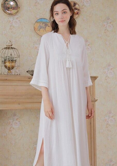 ef7c0ddf1a Women Night Dress Gowns Embroidery White Nightgown Autumn Sleepwear  Comfortable Homewear Nightgown Pregnant woman