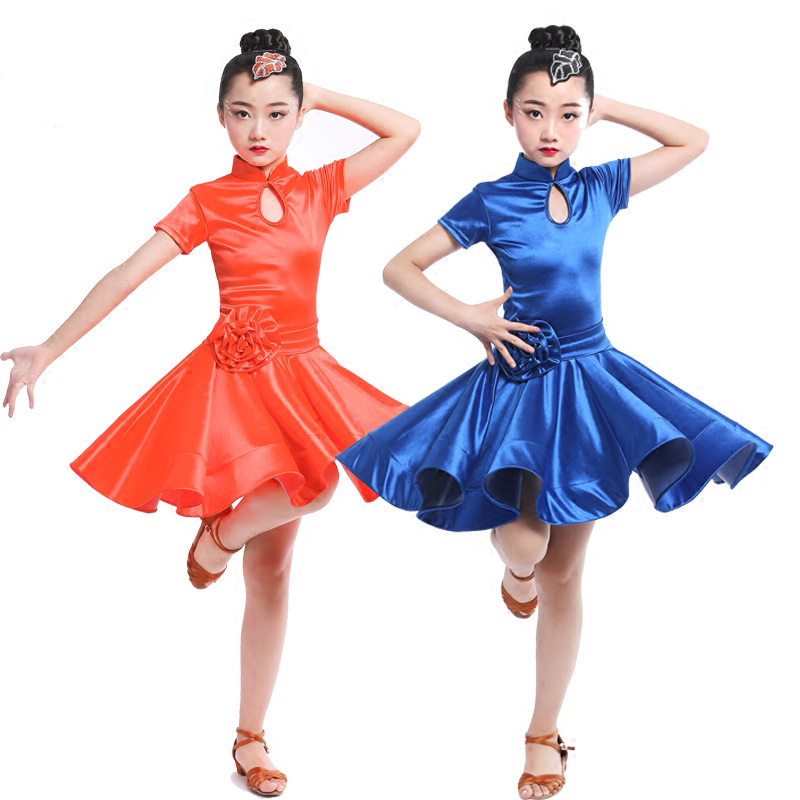 Latin Dance Dress For Girls Short Sleeve Ballroom Dancing Dresses For Kids Tango Clothes Stage Performance Wear  4 Colors DN1100