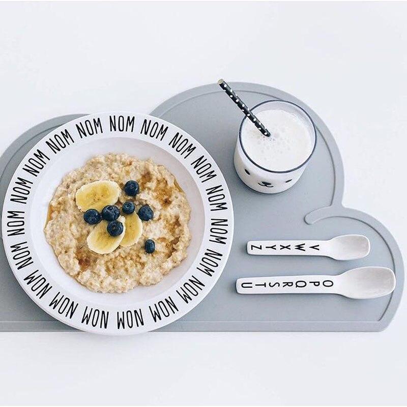 Perfect BBK INS 16 Kids Tableware Cutlery Alphanumeric Bunny Clouds Fruit Plate  Flat Plate Melamine Environmental Popular