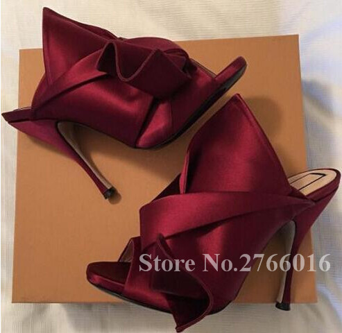 2017 Hot Fashion Big Butterfly-knot Satin Women Sandals Slippers Outside Slides Mule Stiletto High Heels Party Shoes Woman 42
