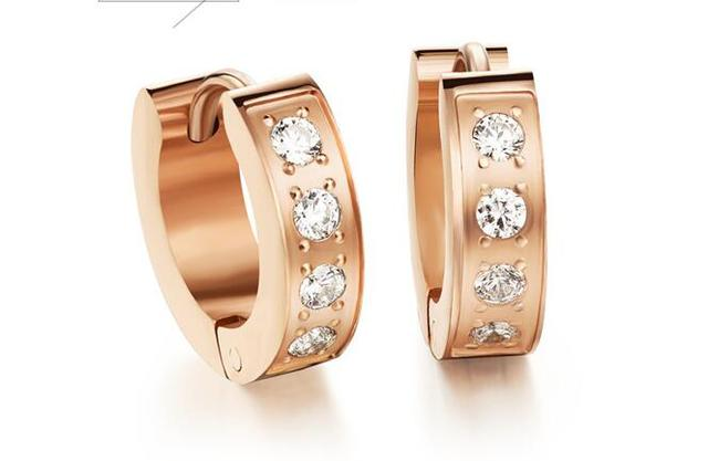 Free shipping,women's exquisite hoop earrings,Inlay Zirconium pattern,stainless steel rose gold plated earrings,2 colors,GE289