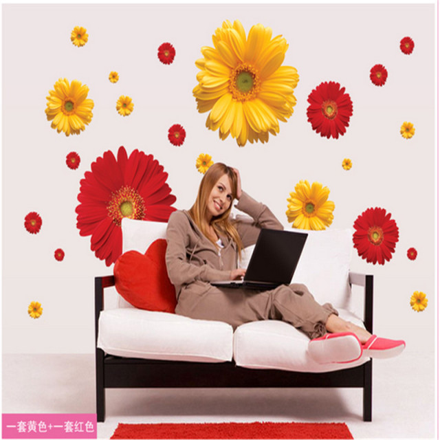 1set ZY6015 Daisy Flower Living Room Vinyl 3d Wall Stickers Window Decor  Bedroom Wall Decals Sticker