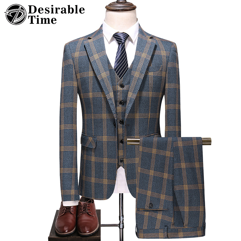 Men's Plaid Suits With Pants Autumn New Arrival Men 3 Piece Classic Suit Gray Wedding Business Suits For Men Costume Homme DT500