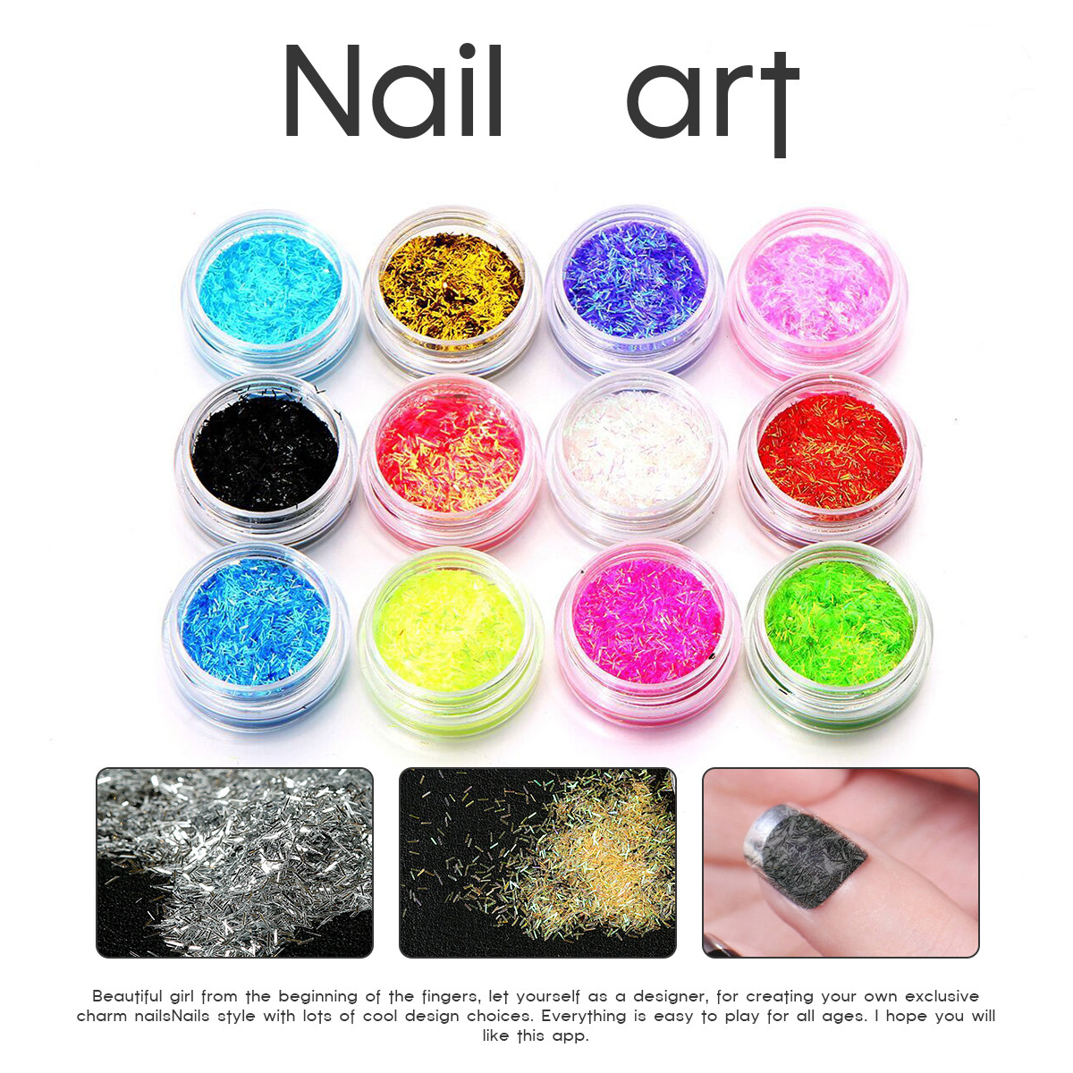 12 Colors Nail Art Tips Stickers Acrylic 3D Glitter Sequins Manicure ...