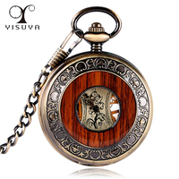 Luxury Wood Mechanical Pocket Watch Vintage Carving Steampunk Fob Watches Roman Numerals Necklace Chain Men Women