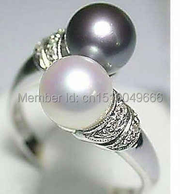FREE SHIPPING >>>>Hot Sell! Real Black White Freshwater Pearl Silver Ring