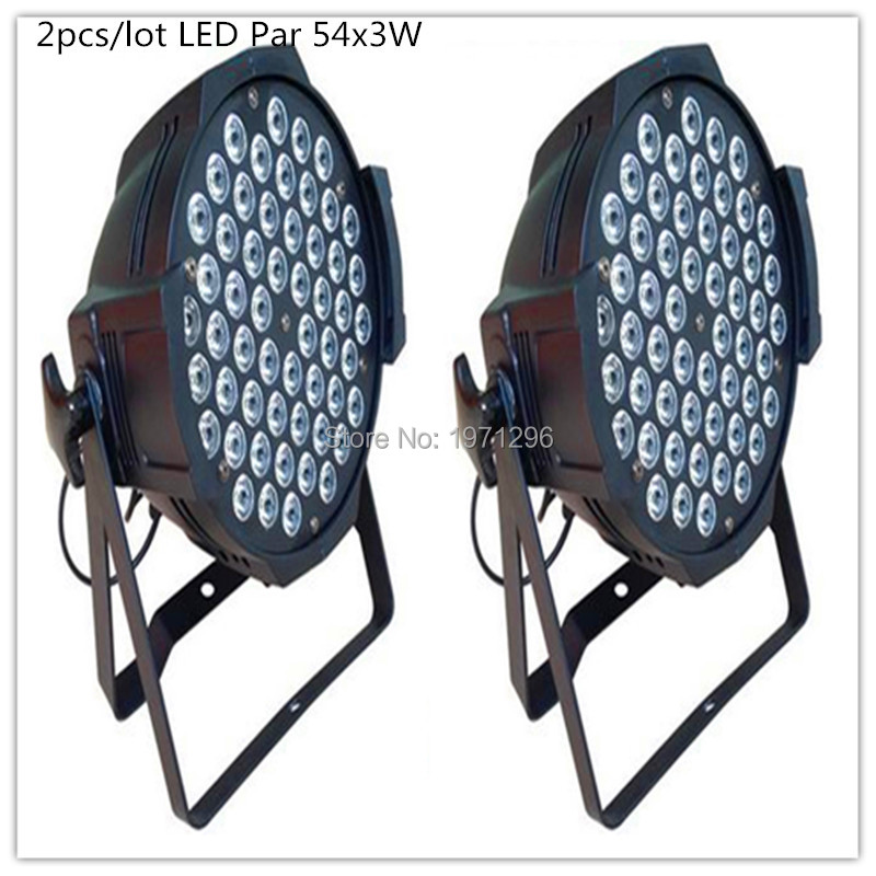 2 pieces Promotional Packaging LED Par Can 54 x 3W RGBW Color With 8 Channels Power Light For Disco DJ Party Event Live Show