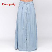 Dunayskiy Women Clothes Saias Blue Plus Size 3XL Casual A-Line Long Skirt