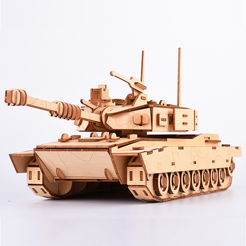 3D DIY Wooden Puzzle Toy Military Series M1 Main Battle Tank Vehicle Model Set Creative Assembled Puzzle Toys Gifts For Children