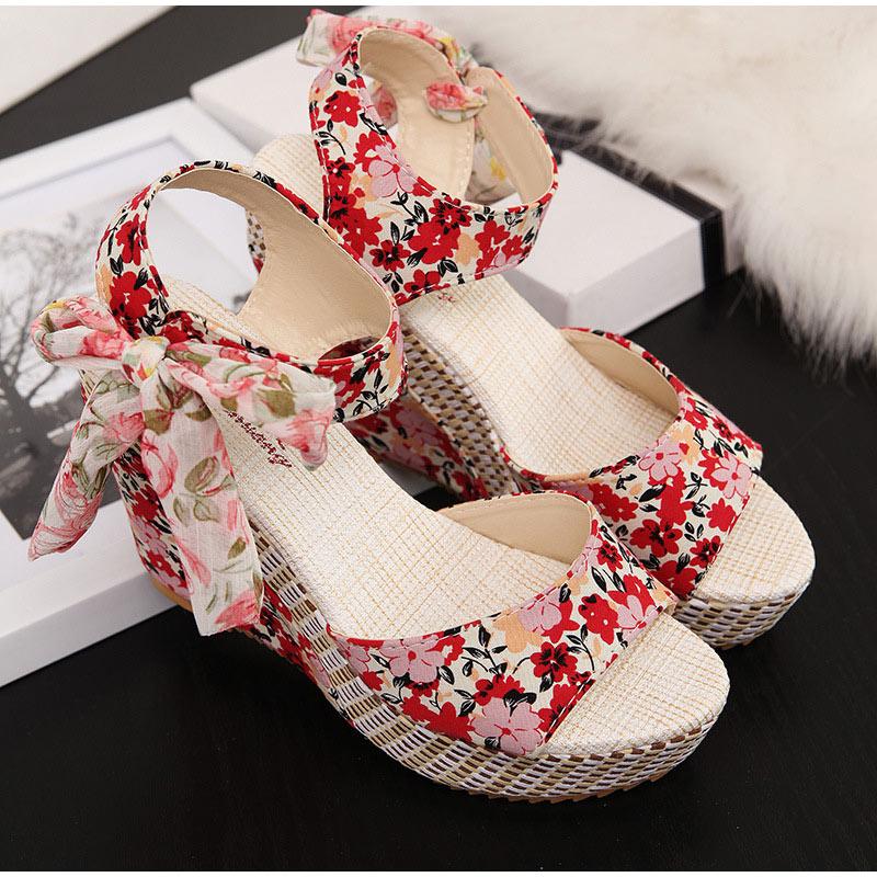 HTB16NtPXRWD3KVjSZFsq6AqkpXaL Women Summer Wedge Sandals Female Floral Bowknot Platform Bohemia High Heel Sandals Fashion Ankle Strap Open Toe Ladies Shoes
