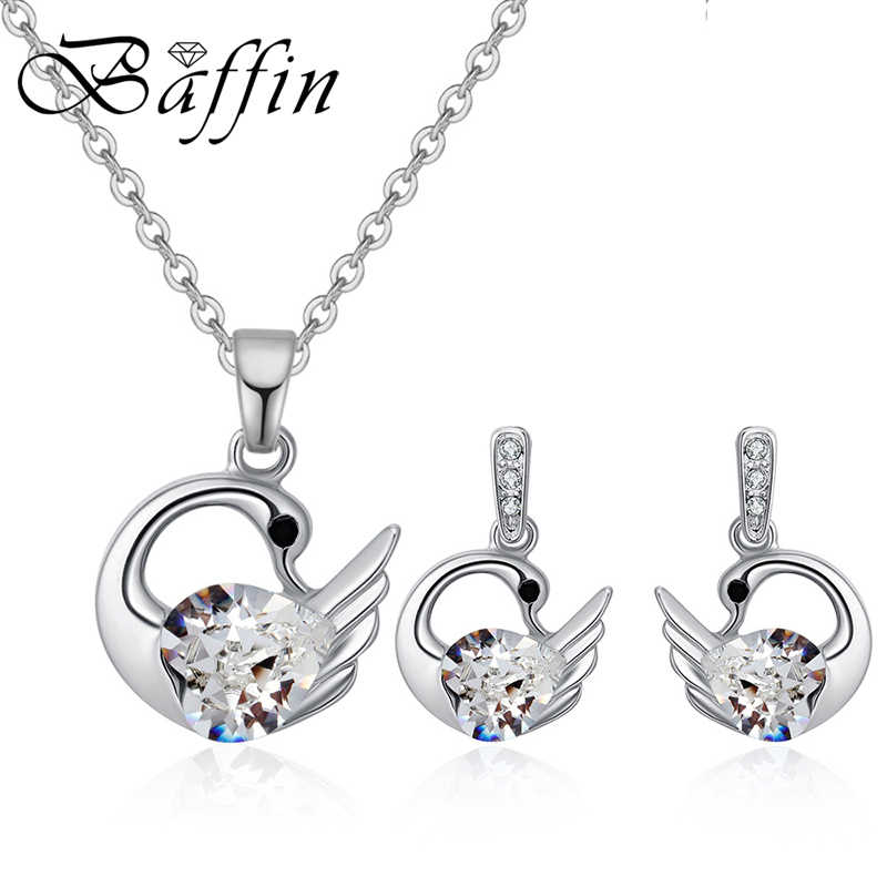 Swan Necklace ALP BAFFIN Original Crystals From Swarovski Classic Swan Jewelry Sets Pendants  Necklace Drop Earrings For Women Silver