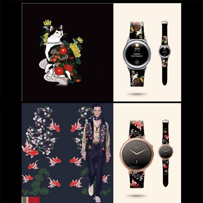 Bracelet en cuir pour Samsung Gear S3 S2 Style peinture bracelet en cuir véritable pour Huami Amazfit 1 2 bracelet pour montre Huawei
