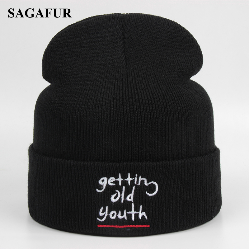 Autumn Winter Knitted Hat Female Soft Acrylic   Skullies     Beanies   For Girls Boys Casual Outdoor Ski Caps Hip Hop Embroidery   Beanies