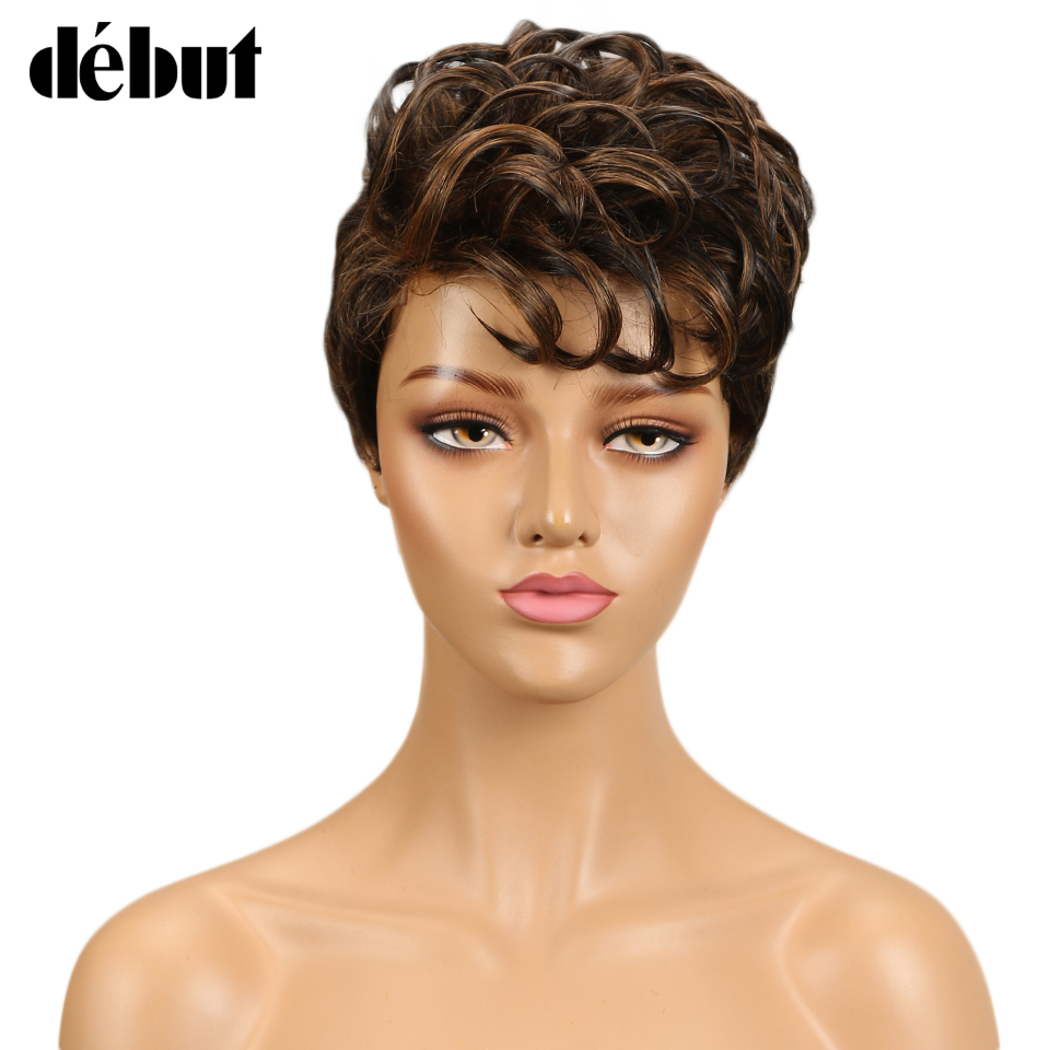 Debut Wigs For Black Women Ombre Human Hair Wig Short Wet And Wavy Human Hair Wigs Remy  Human Wigs Free Shipping