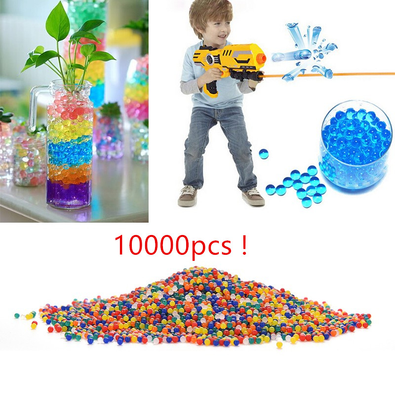10000pcs/packet colored orbeez soft crystal water paintball gun bullet grow water beads grow balls water gun toys ...