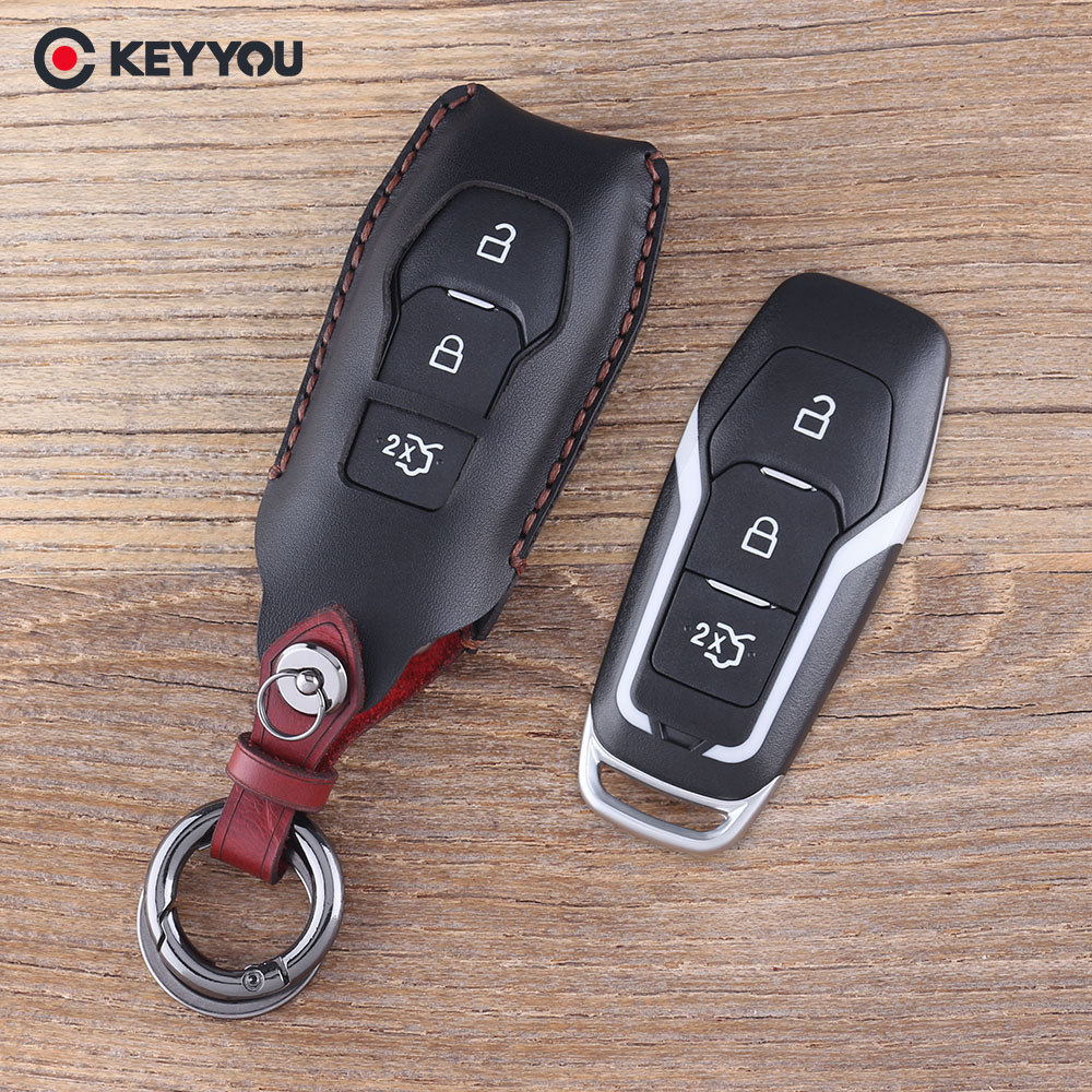 KEYYOU 3 Buttons Remote Leather Key Shell Bag For Ford Mondeo Fusion Keychain Car Key Case Fob Cover