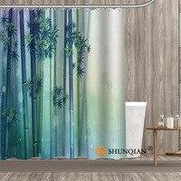 Niedrigen preis Benutzerdefinierte Bambus Wohnkultur Bad Innen Dekoration Kreative Modernen Design Polyester-gewebe Duschvorhang