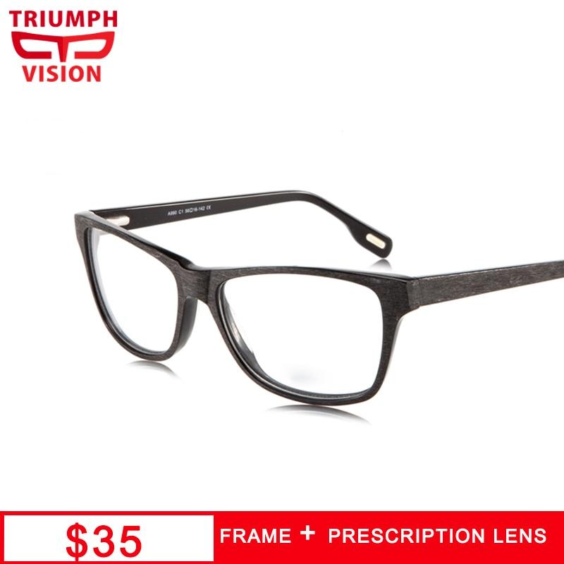 TRIUMPH VISION Square Black Graduate Glasses Reading Clear Spectacles Prescription Progressive Myopia Eyeglasses Wood Style