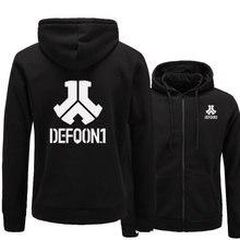 2017 New Defqon 1 록 밴드 힙합 남성 후드 티 스웨터 겨울 가을 지퍼 플리스 캐주얼 자켓 까마귀 남성 의류