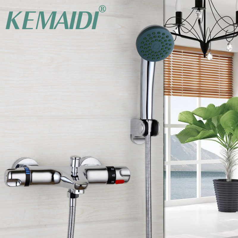 KEMAIDI Hot&Cold Mixers Taps Wall Mounted Rainfall Shower Faucets New Bathroom Faucet Chrome Polished Shower Set free shipping polished chrome finish new wall mounted waterfall bathroom bathtub handheld shower tap mixer faucet yt 5333