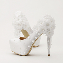 White New arrival bride wedding shoes round toe single shoes high heel platform shoes pumps lady wedding shoes