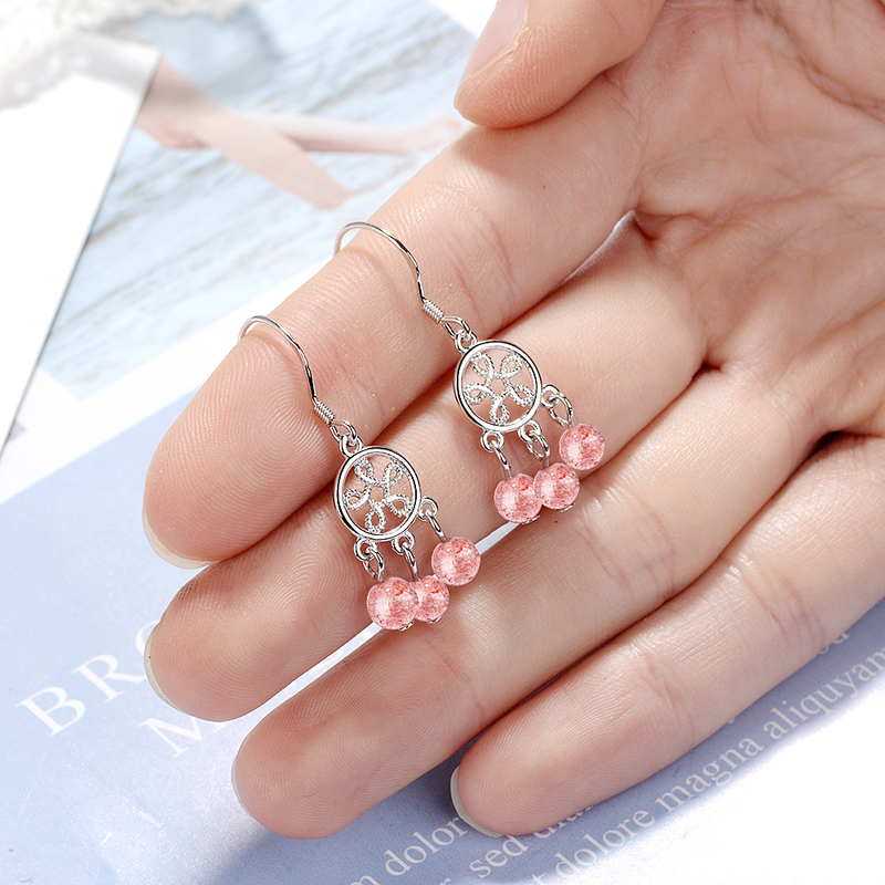 Everoyal Fashion 925 Silver Girl Earrings Jewelry Trendy Lady Strawberry Crystal Drop Earrings For Women Accessories Female in Drop Earrings from Jewelry Accessories
