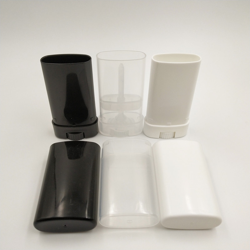 50pcs/lot 15ml Empty Plastic White, Black And Clear Oval Big Lip Balm Deodorant Tube Container