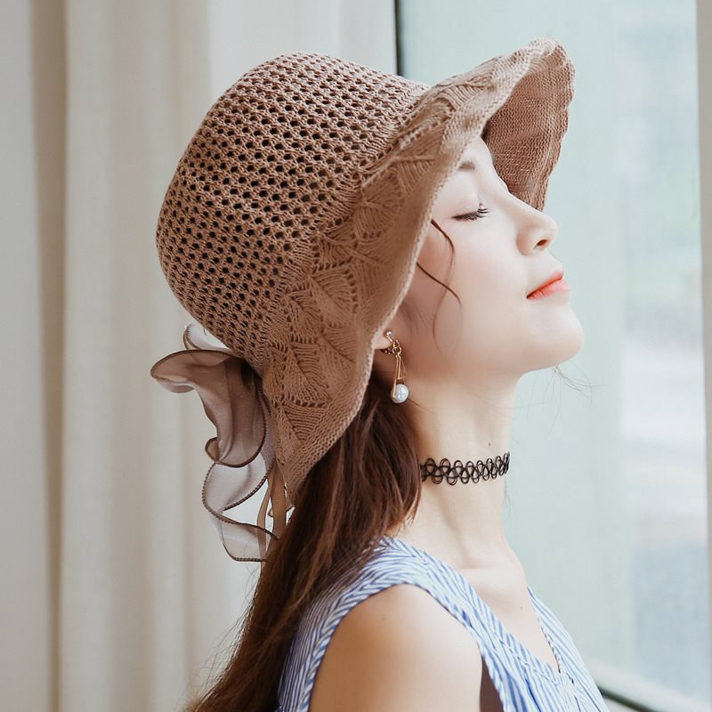 Vintage Lace Flowers Women Straw Hats Summer Sun for Beach Retro Female Sunscreen Cap Hand Made 2019