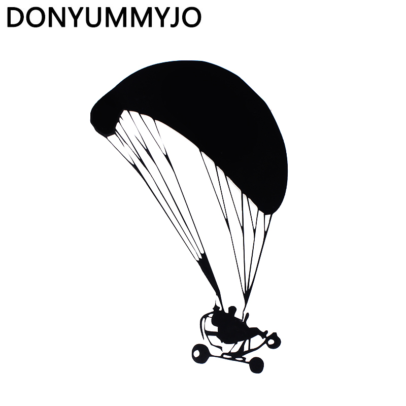 DONYUMMYJO 10.2*17CM Powered Paragliding Car Stickers Fun Reflective Vinyl Decals Black/Silver RW-025