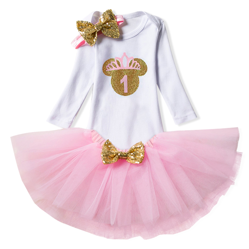 1 Year Baby Kids 3Pcs Sets Baby Girl Tutu Dress Infant 1st Birthday Party Outfit Romper+Skirt+Headband Newborns Vestidos Bebes 2pcs per set hot pink baby girl crown tutu infant 2nd birthday party outfit romper bubble skirt baby girls second birthday dress