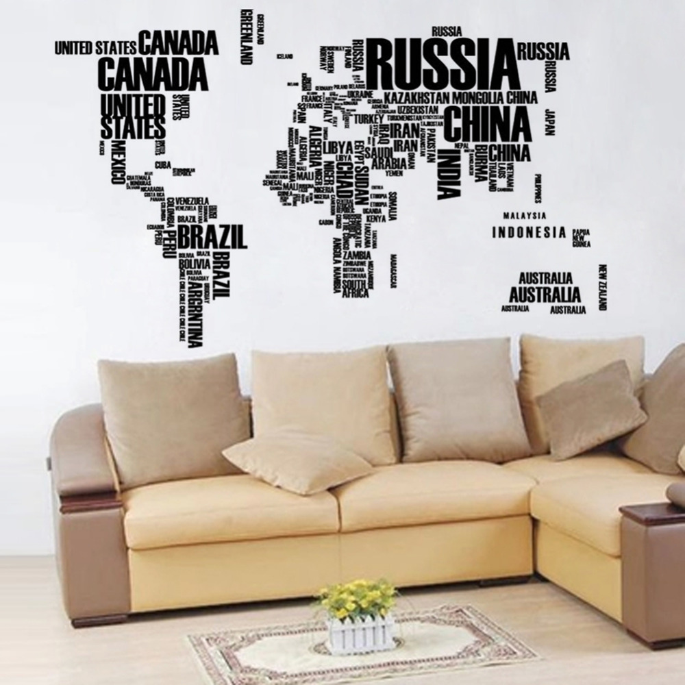 Aliexpress buy english word world map large black removable aliexpress buy english word world map large black removable wall decals book shelf vinyl wall sticker bedroom decoration from reliable wall sticker gumiabroncs Gallery