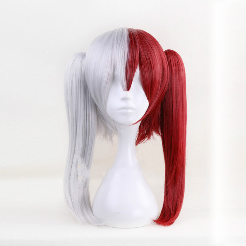 My Hero Academia My Boku no Hero Academia Todoroki Shoto Anime Cosplay Wig Red White Ponytail Wig