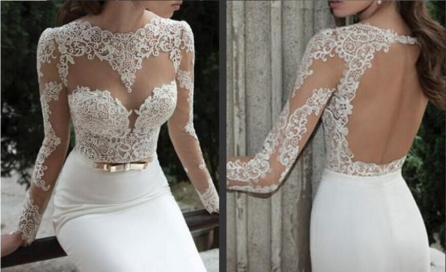 Perspective Evening Dress 2015 New V Neck White Lace Flower Slim Fishtail Trailing Tuxedo Gold Bow In Dresses From Weddings Events On