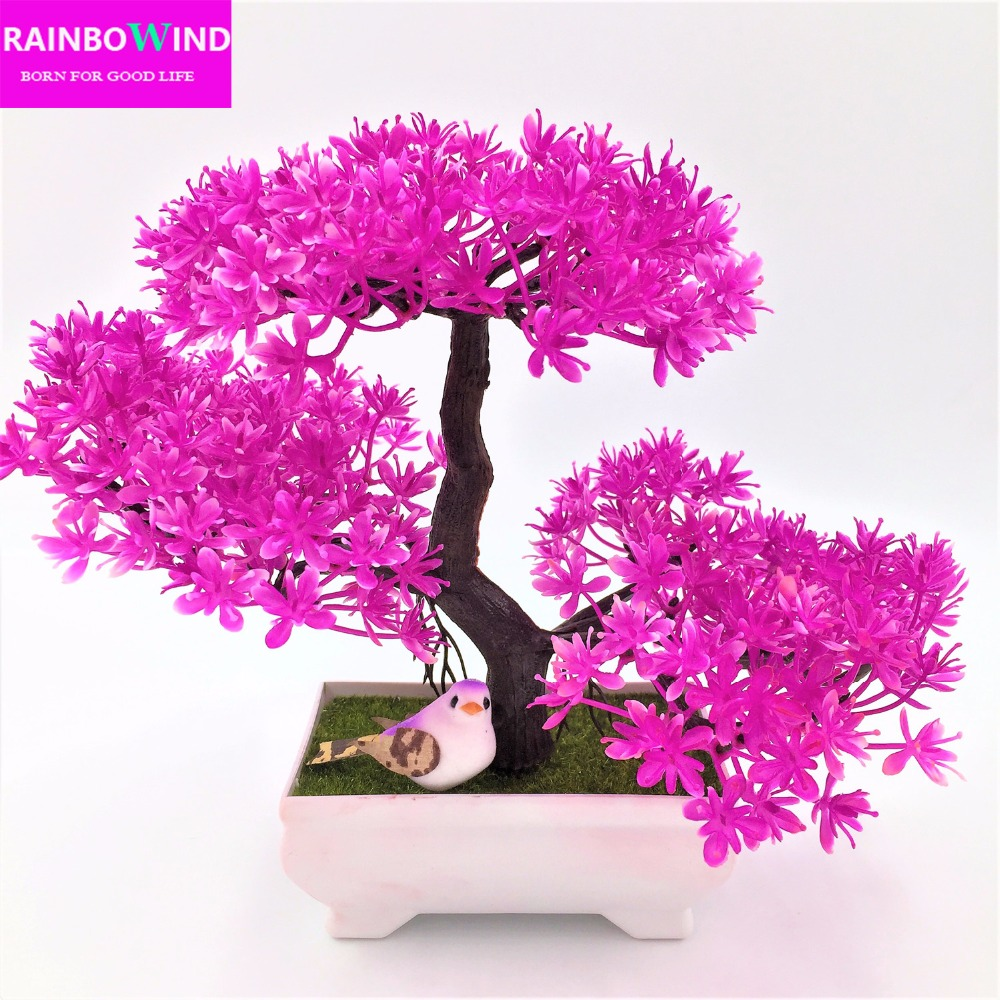1 unid rbol Sakura emular Bonsis boda flores decorativas