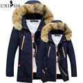 2016 Winter Men Cotton Parkas Fashion Jackets Hooded Fur Collar Thick Warm Outdoors Outwear Lovers Overcoat Asian Size Z2496