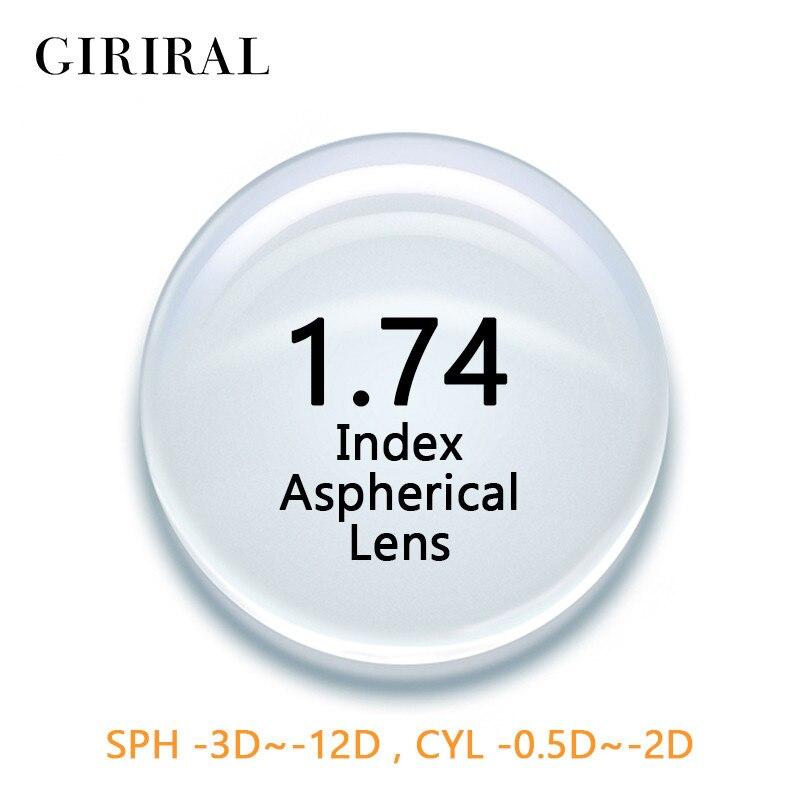 1.74 Index CR-39 Version unique lentilles yeux optique clair asphérique prescription myopie lunettes lentilles # 1.74CR