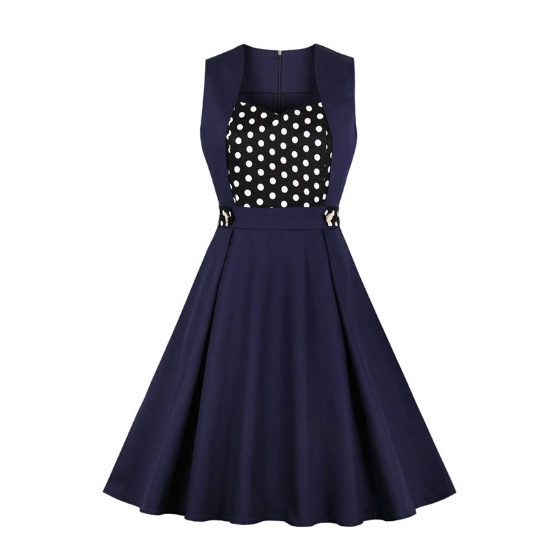 Retro Polka Dot Elegant Dress Women Sleeveless Fashion Prom Sexy Evening Slim 50s Vintage A Line Ladies Gothic Summer Dresses