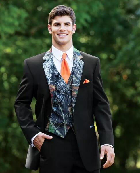 Rustic Wedding Men Suits One Button Camo Mens Wedding Suits Notched Lapel Groom Wear Prom Suits For Men ( Jacket+Pants+Vest