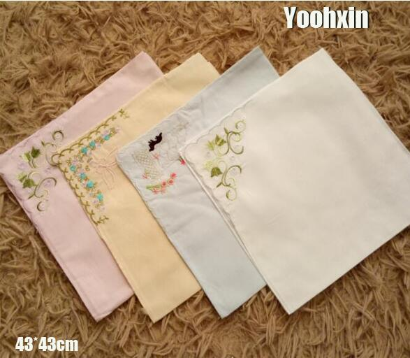 10pcs Lot 43cm New Cotton White Lace Handkerchief Embroidered Women Square Las Hanky Children Towel Wedding Gift In Towels From