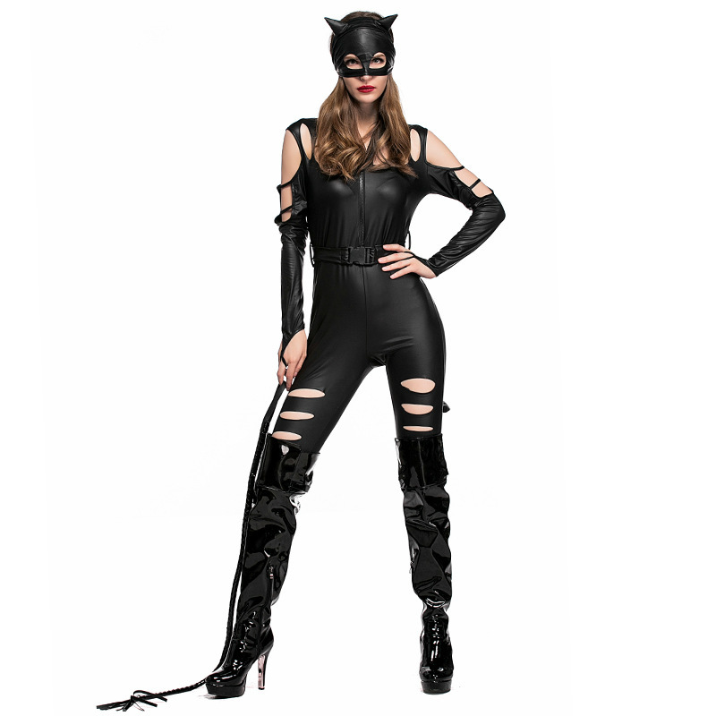 Woman Sexy Halloween Custumes Catwoman Cos Black Patent Leather Broken Holes Jumpsuit Mask Whip Set Disguisement For Carnival