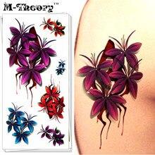 M-Theory Temporary Tattoos 3D Body Arts Makeup Flower Flash Tatoos Stickers 19x9cm Waterproof Tatto Bikini Swimsuit Makeup Tools