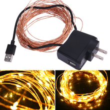 10m/32.8ft 100 LED Waterproof Copper Wire String Light 5V USB Warm White For Christmas Festival Wedding Party Decoration US Plug