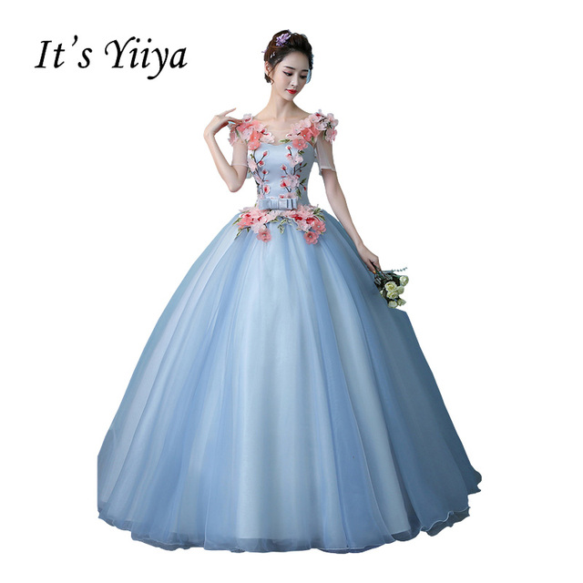 It S Yiiya Blue Illusion Wedding Dresses Ball Gown Appliques Floor