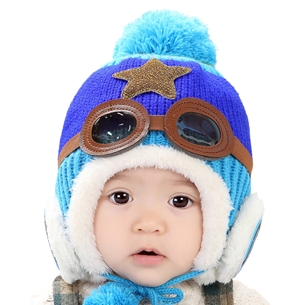 aadd16bf0ea ... 2017 winter cute baby earflap toddler girl boy kids pilot aviator cap  warm soft beanie hat ...