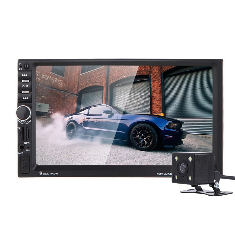 7 2Din Car Multimedia Player GPS Navigation TFT Touch Screen Bluetooth Stereo Radio FM MP3 Mp5 Player Camera Map European aw715 7 0 inch resistive screen mt3351 128mb 4gb car gps navigation fm ebook multimedia bluetooth av europe map
