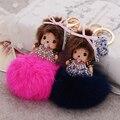 Crystal Monchichi Key Chain Sleutelhanger Pompom Rabbit Fur Keychain Women Messenger Bags Charms Chaveiro Car-styling Key Ring