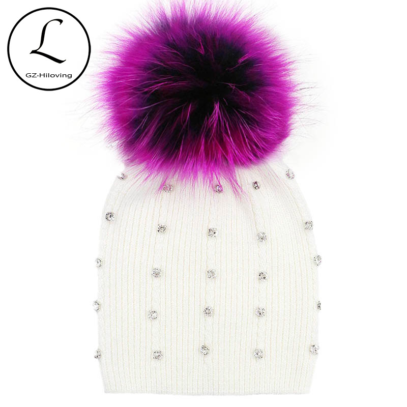GZHILOVINGL Winter Knitted Real Fur Hat Women Thicken Beanies Hats with Big Raccoon Fur Removable Pom poms Knitting Beanie Caps