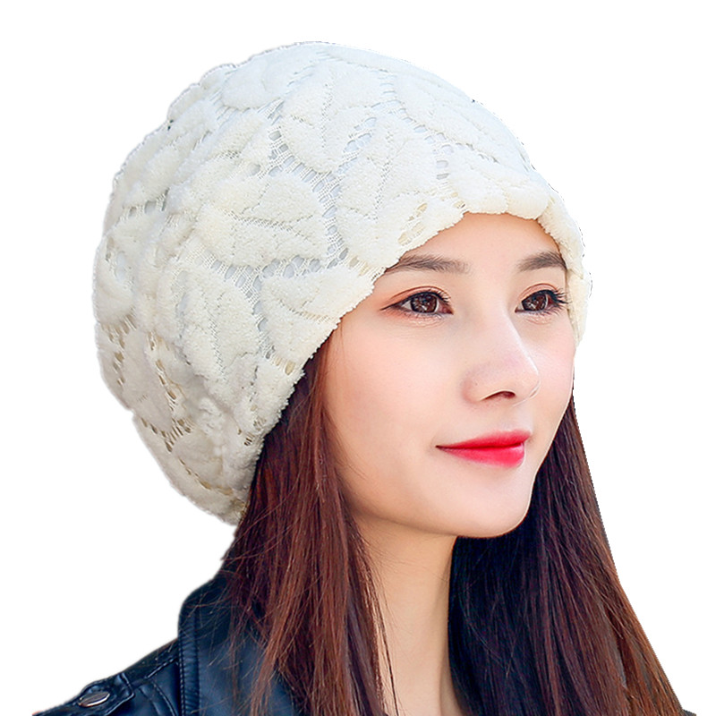 Turban Hat Lace Beanies For Ladies Women Autumn Cap Female Skullies Beanie  Cotton Knitted Leaves Mesh Baggy Caps Girl Casual Hat 65f07dfc8321